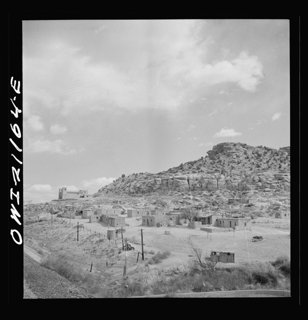 McCartys (vicinity), New Mexico. Passing by an Indian reservation along the Atchison, Topeka and Santa Fe Railroad between Belen and Gallup, New Mexico