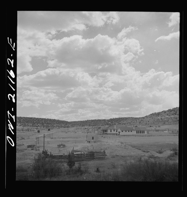 McCartys (vicinity), New Mexico. Passing Indian farms and a school on the Atchison, Topeka and Santa Fe Railroad between Belen and Gallup, New Mexico