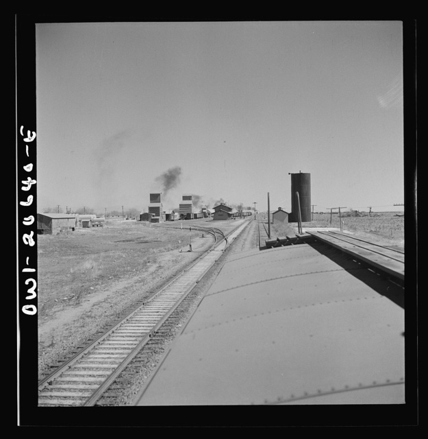 Melrose, New Mexico. Pulling out of the town on the Atchison, Topeka, and Santa Fe Railroad