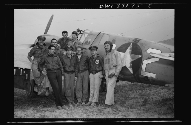 Members of the 64th Squadron of the 57th Fighter Group, which took part in the aerial victory over the Sicilian straits on April 18, in which seventy-four enemy planes were destroyed