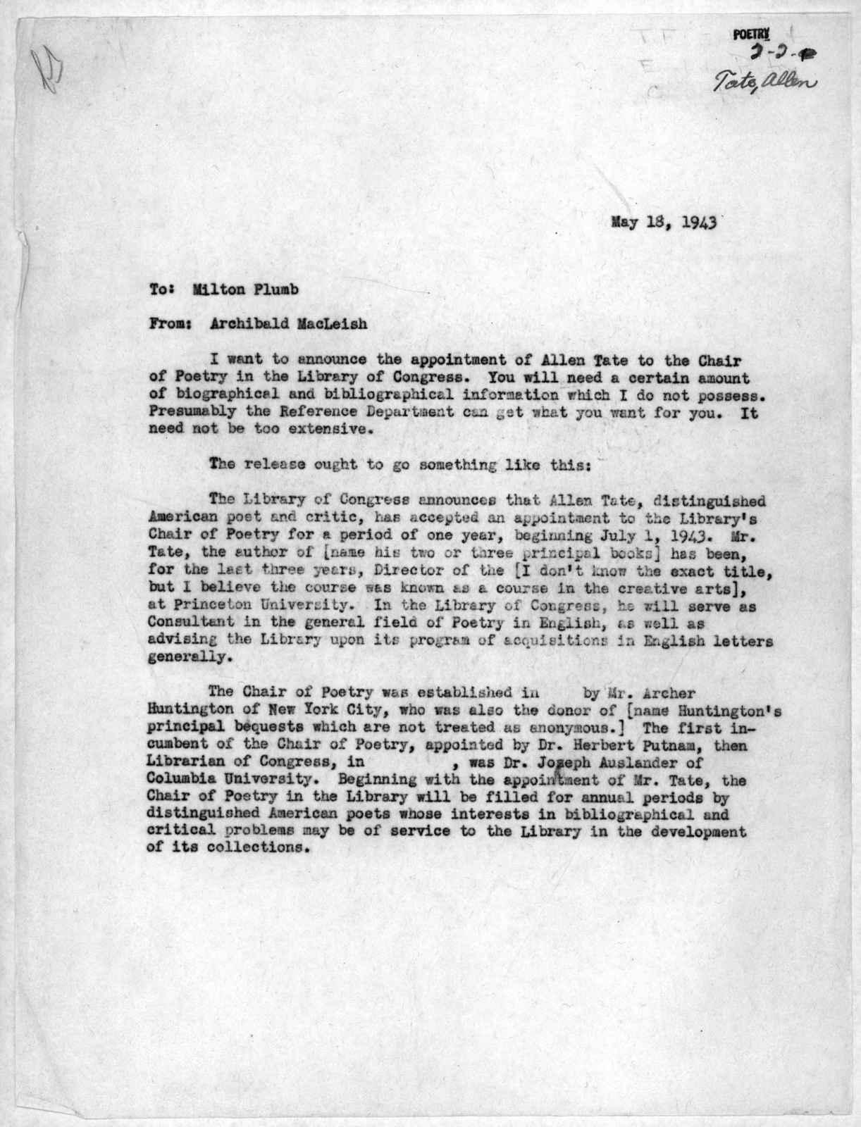 Memorandum from Archibald MacLeish to Milton Plumb, May 18, 1943