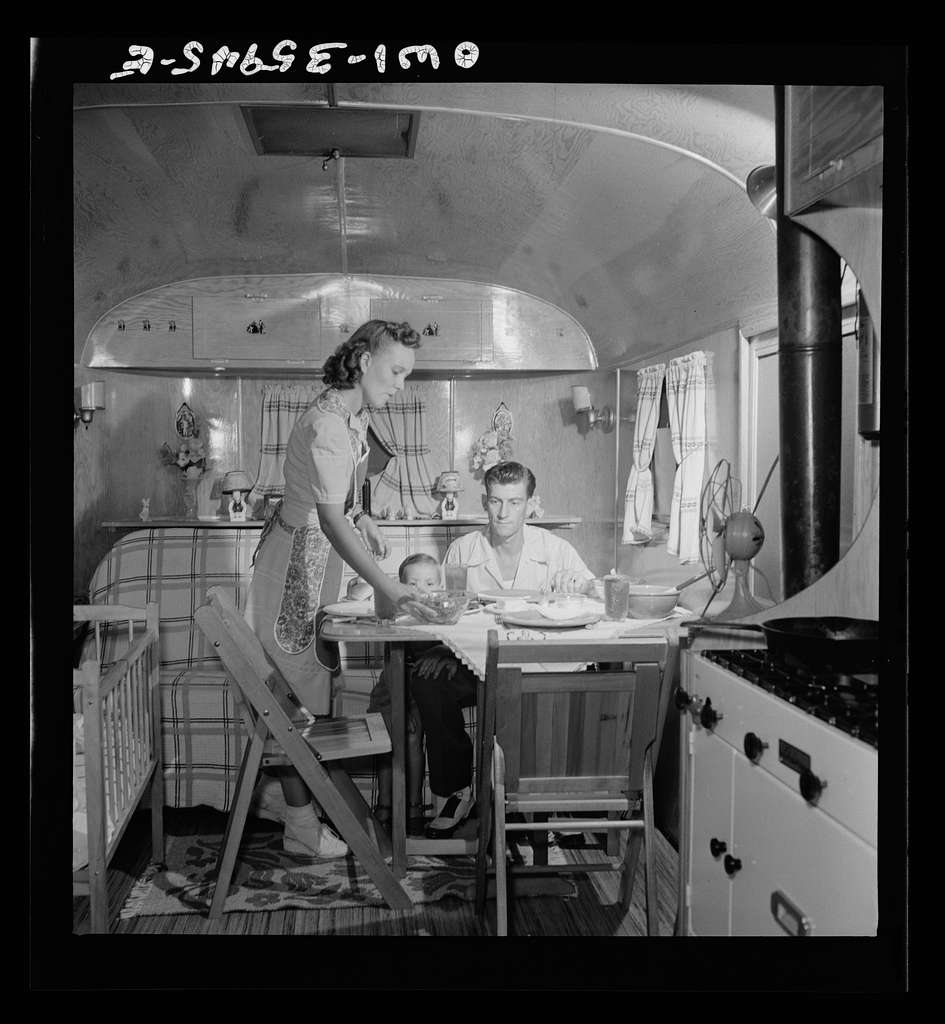 Middle River, Maryland. A FSA (Farm Security Administration) housing project for Glenn L. Martin aircraft workers. A worker's family in their trailer home