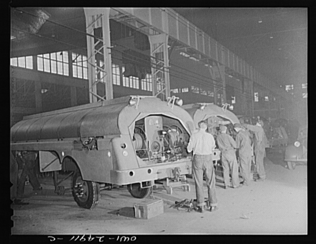 Milwaukee, Wisconsin. War production workers at the Heil Company making gasoline trailer tanks for the U.S. Army Air Corps. Assembling parts