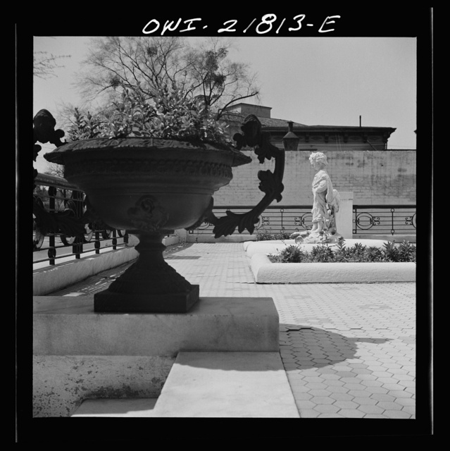 Montgomery, Alabama. Urn and garden monument in front of an old house