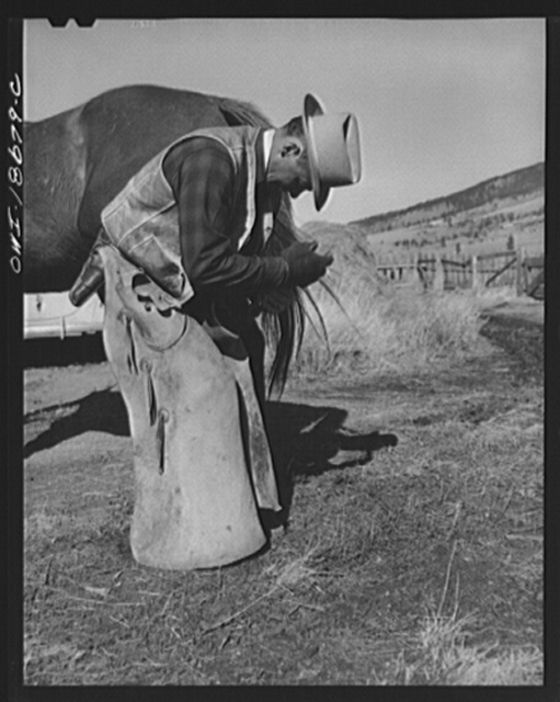 Moreno Valley, Colfax County, New Mexico. John Mutz changing a shoe on George Turner's prize Arabian pony