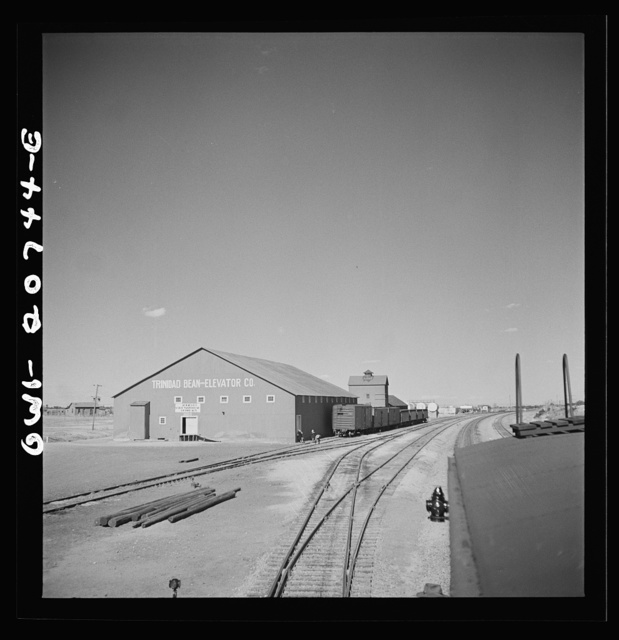 Mountainair, New Mexico. Going through the town on the Atchison, Topeka and Santa Fe Railroad between Vaughn and Belen, New Mexico. The surrounding area raises great quantities of red beans