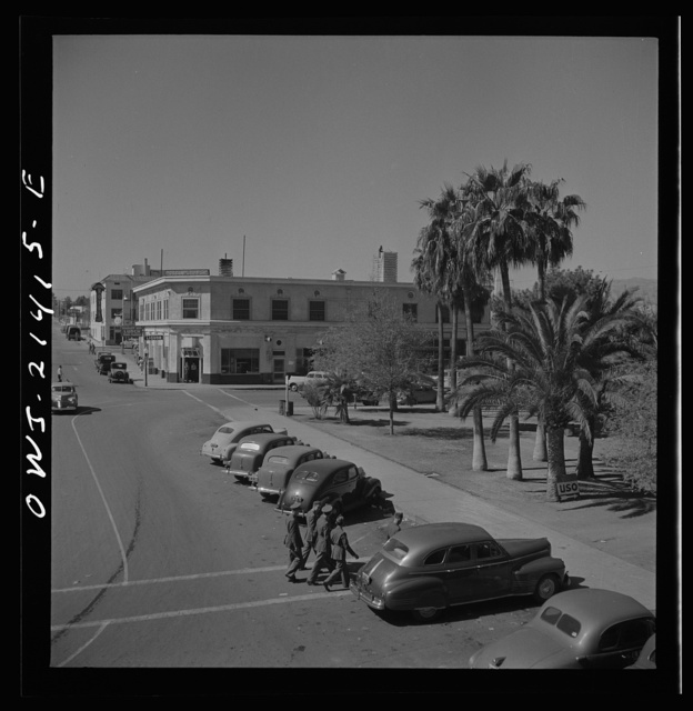 Needles, California. A general view of a street leading to the depot of the Atchison, Topeka, and Santa Fe Railroad