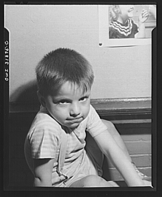 New Britain, Connecticut. A child care center, opened September 15, 1942, for thirty children, age two to five, of mothers engaged in war industry. The hours are 6:30 a.m. to 6 p.m., six days per week. Portrait of child at the center