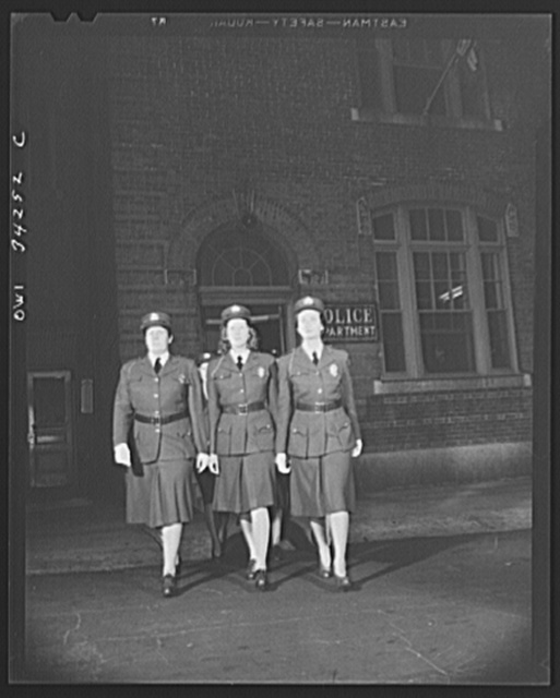 New Britain, Connecticut. Auxiliary policewomen leaving headquarters for patrol duty