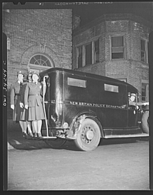 New Britain, Connecticut. New Britian auxiliary policewomen and their police wagon