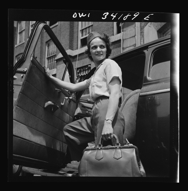 New Britain, Connecticut. Women employed at Landers, Frary and Clark plant. A shuttle driver