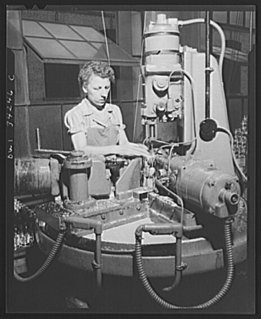 New Britain, Connecticut. Women employed at the Landers, Frary and Clark. Drilling holes in bomb fuses