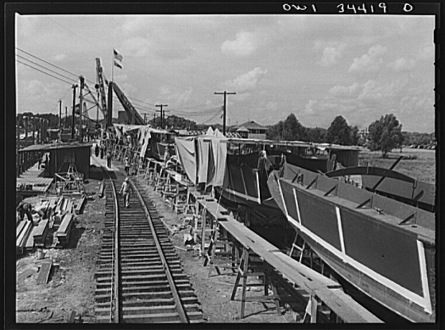 New Orleans, Louisiana. Ramp boats on railroad cars