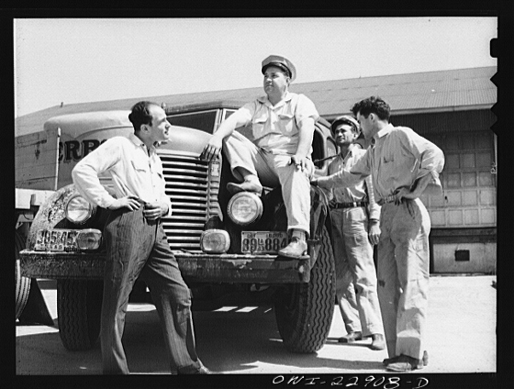 New Orleans, Louisiana. Truck drivers at the Herrin Company terminal