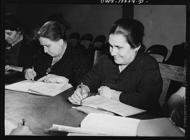 New York, New York. Class in citizenship and English for Italians given free of charge at the Hudson Park Library on Seventh Avenue near Bleeker Street