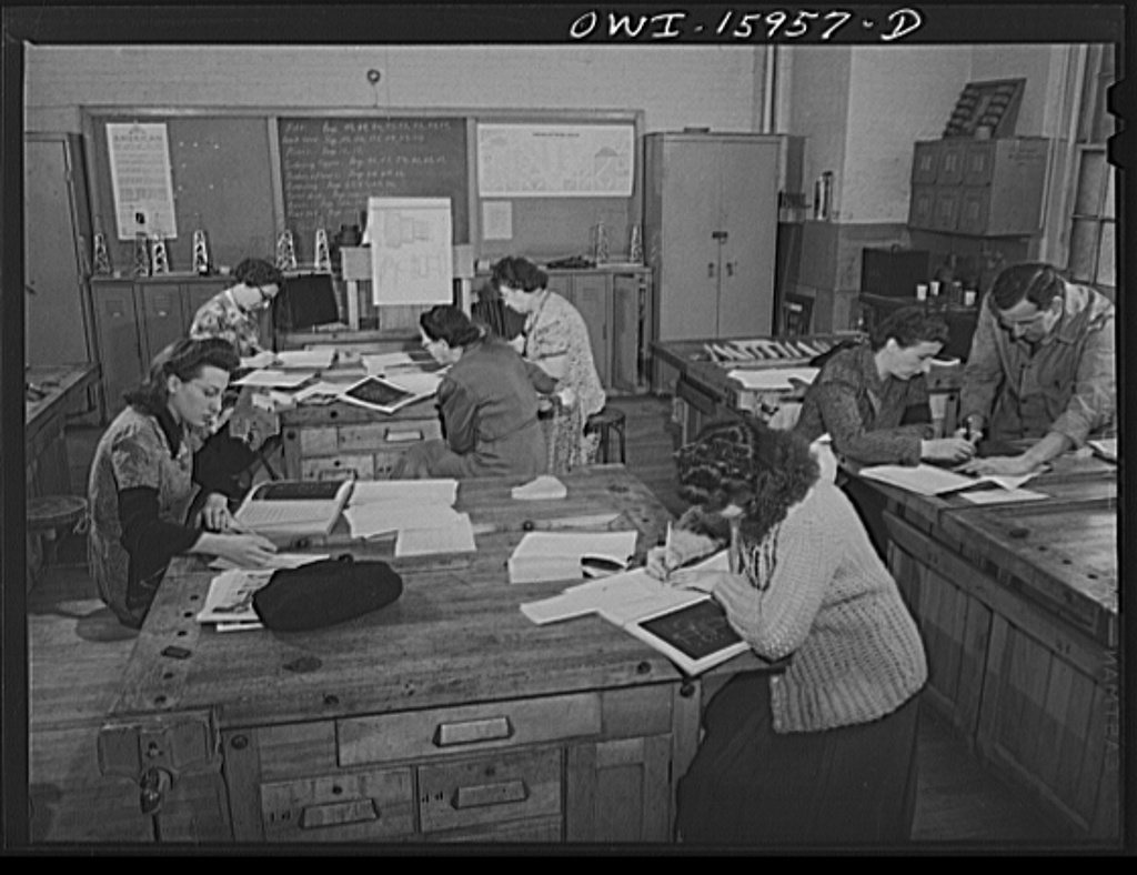 New York, New York. Industrial training for war work offered to women by New York University under United States government sponsorship. Class in blueprint reading. Many students get jobs even before they finish