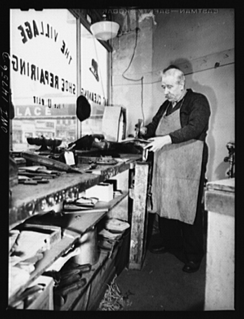 New York, New York. Italian-American shoe repair man