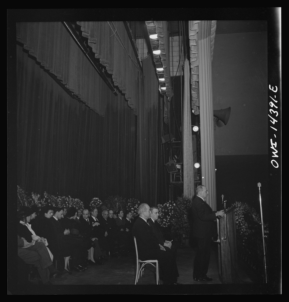 New York, New York. Prominent anti-fascist Italo-Americans made speeches, and sat on the stage in Manhattan Center at the funeral of Carlo Tresca, the Italian anarchist publisher of Il Martello, who was murdered on Fifth Avenue