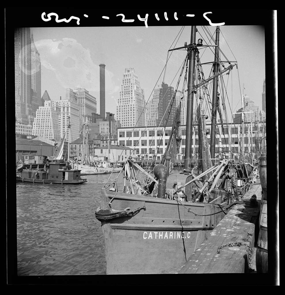 New York, New York. The New England fishing boat, the Catherine C, docked at the Fulton fish market