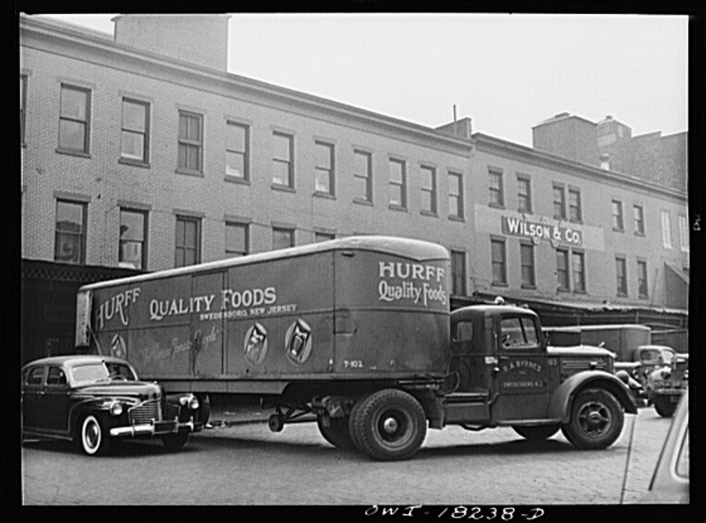 New York, New York. Truck picking up meat at the Wilson Company