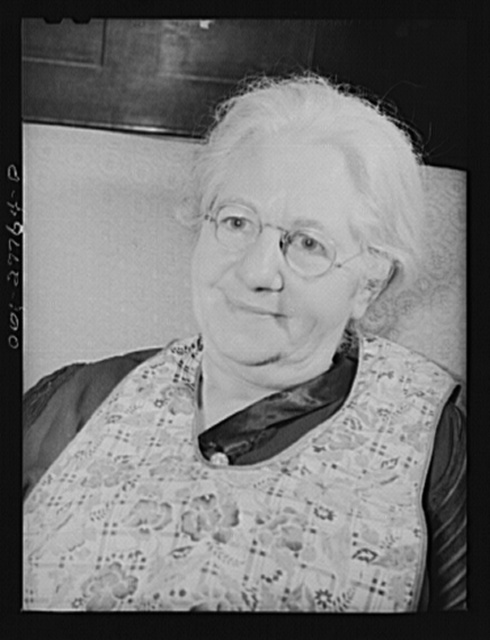 Niagara Falls, New York. Mrs. Hannegan runs a boardinghouse for from six to ten girls working in war plants. She is the mother of eleven children, loves people, and feels that this is the best way to contribute to the war effort. Girls pay eight dollars a week, including meals; her daughter Nan pays twelve dollars