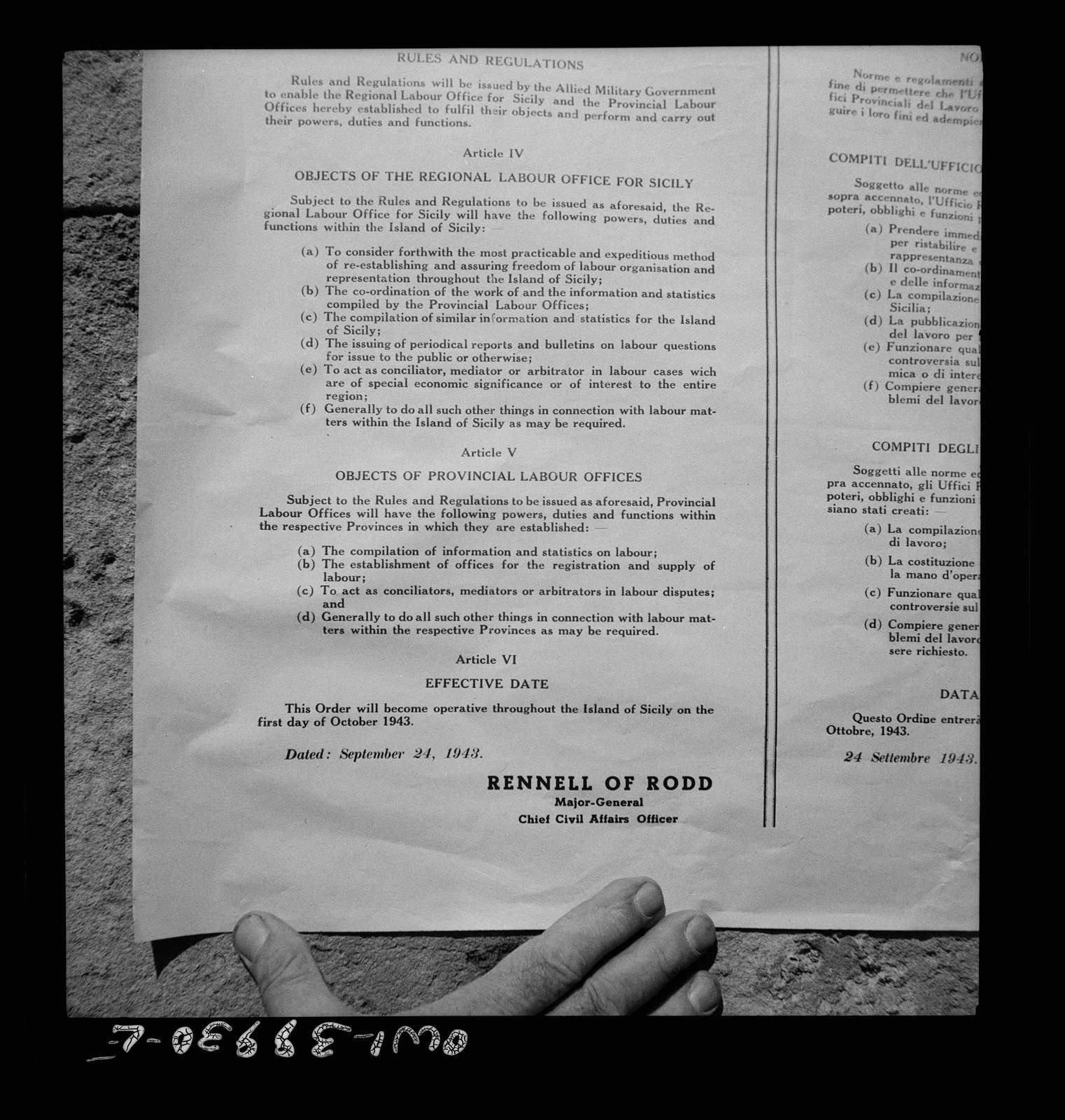 Notice of labor regulations established by the Allied military government for Sicilians