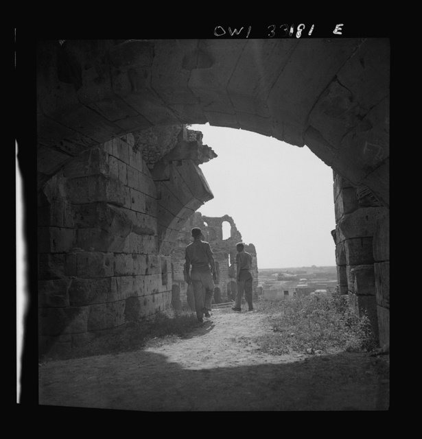 Officers of the 57th Fighter Group visiting Roman ruins in Tunisia