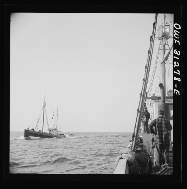 On board the fishing boat Alden out of Gloucester, Massachusetts. Fishermen on a boat heading for Gloucester giving the location of large schools of mackerel to the Alden's crew as the boats pass