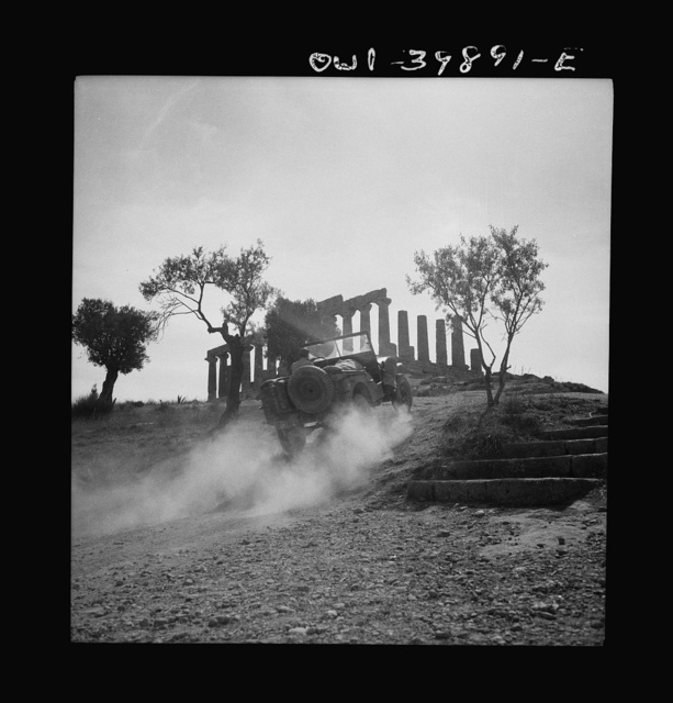 One of the ruins visited by the British Eighth Army officers and men on their day off for sightseeing, in the usual peacetime manner, in Sicily