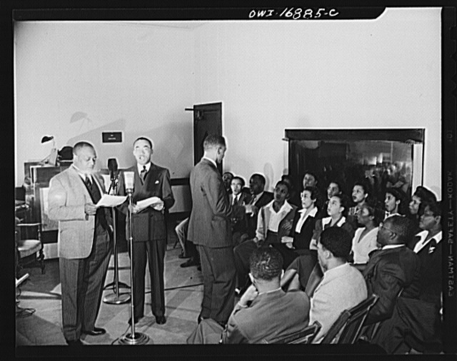 Orlando, Florida. Wings over Jordan, a popular Sunday morning radio program broadcast by Columbia Broadcasting System from station WDBO. President James A. Colston of Bethune-Cookman college speaking to a nationwide audience
