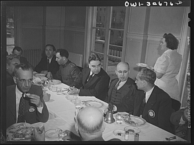 Oswego, New York. Czechoslovakian consul (second from right) attending the Roatary Club luncheon during United Nations week