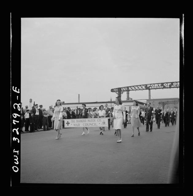 Oswego, New York. Diamond Match Company unit in the United Nations week parade