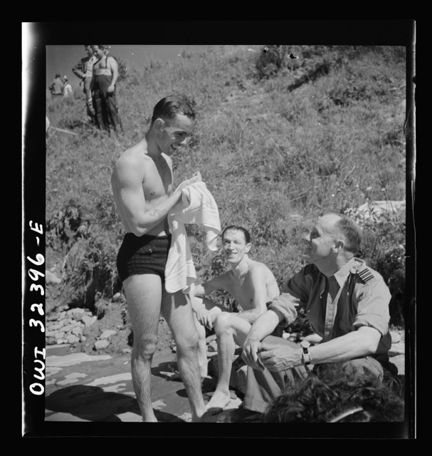 Oswego, New York. Poles and Canadians on the shores of Lake Ontario, at a swimming party held for visitors' entertainment during United Nations week