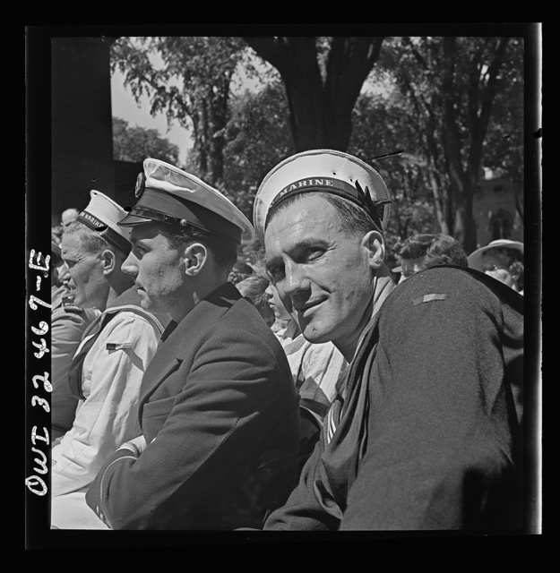 Oswego, New York. Two Belgian sailors, and one French naval officer at the Flag Day ceremony at the Elks Club during United Nations week