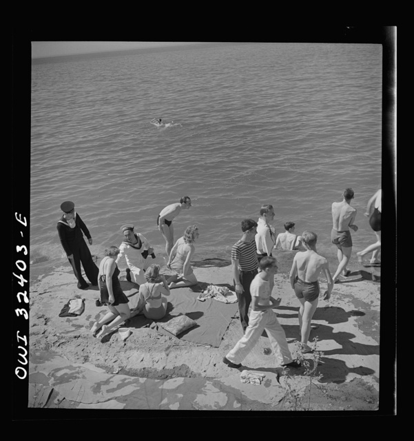 Oswego, New York. United Nations heroes with their hostesses by Lake Ontario, at a swimming party held for visitors' entertainment during United Nations week