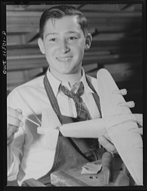 Oswego, New York. Willard DiSantis, sixteen-year old high school boy who made seventy-six model planes for the U.S. Navy, and was awarded the honarary rank of admiral