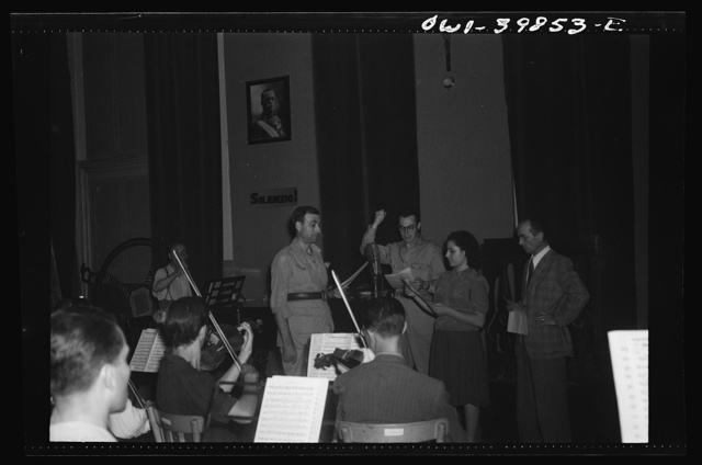 Palermo, Sicily. Orchestra broadcasting a program for the local people