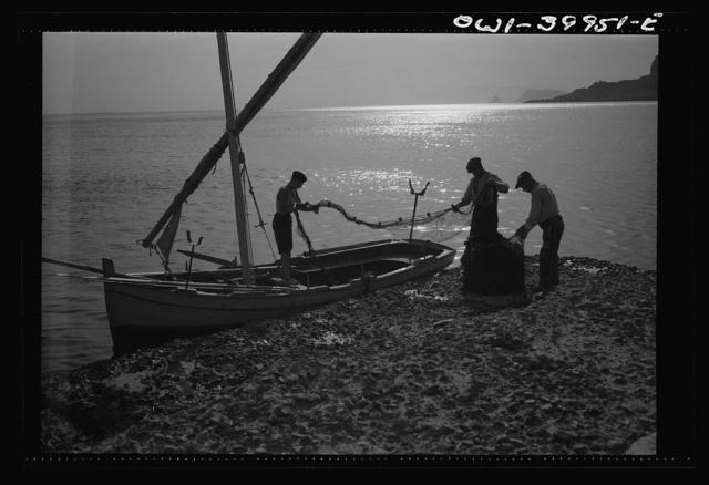 Palermo (vicinity), Sicily. Fishermen preparing for run