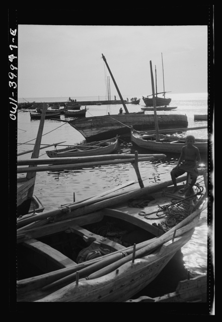 Palermo (vicinity), Sicily. Fishing boats in the harbor