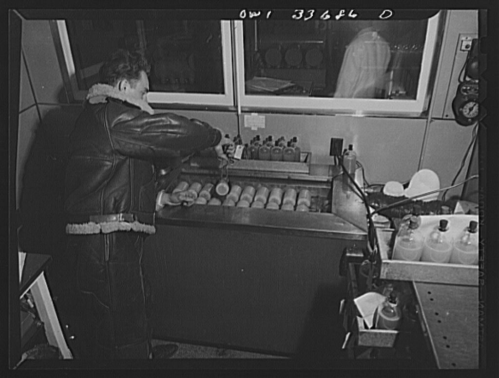 Parke, Davis and Company, manufacturing chemists, Detroit, Michigan. Freezing flasks of blood plasma