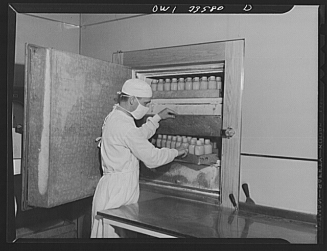 Parke, Davis and Company, manufacturing chemists, Detroit, Michigan. Preparation of blood plasma: showing the storing of plasma at four degrees below zero