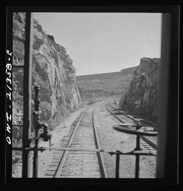 Peach Springs (vicinity), Arizona. Going through mountainous country on the Atchison, Topeka and Santa Fe Railroad
