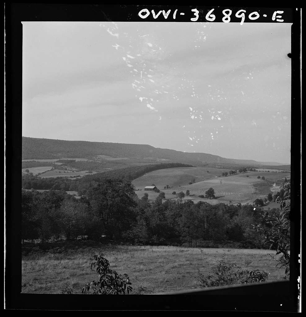 Pennsylvania landscape as seen from the window of a Greyhound bus going to Pittsburgh, Pennsylvania, from Washington, D.C