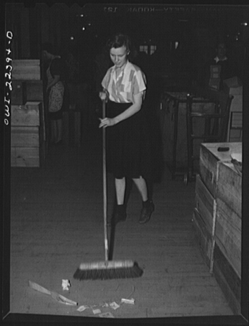 Philadelphia, Pennsylvania. Due to the war the janitor is a girl at the W. Atlee Burpee Company, seed dealer