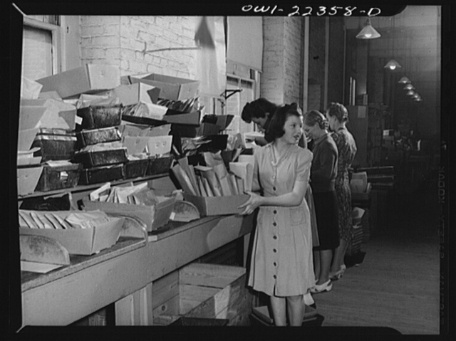 Philadelphia, Pennsylvania. Orders in trays before they are packed for shipment at the W. Atlee Burpee Company, seed dealers