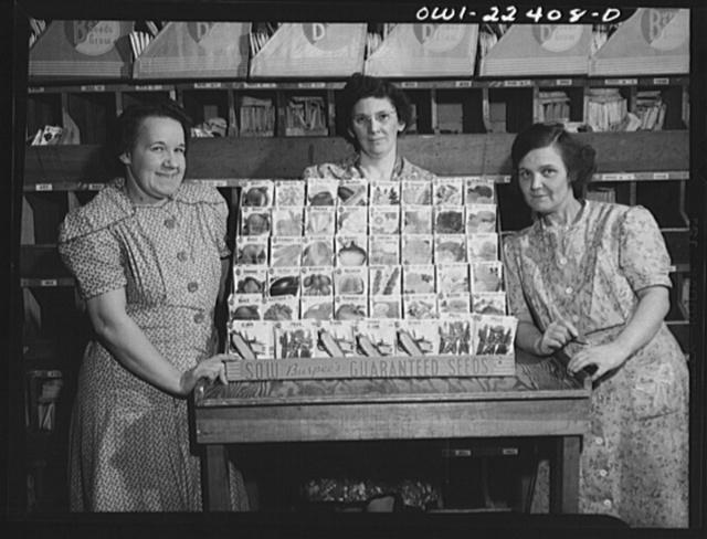 Philadelphia, Pennsylvania. Women with a typical display rack of Burpee seeds