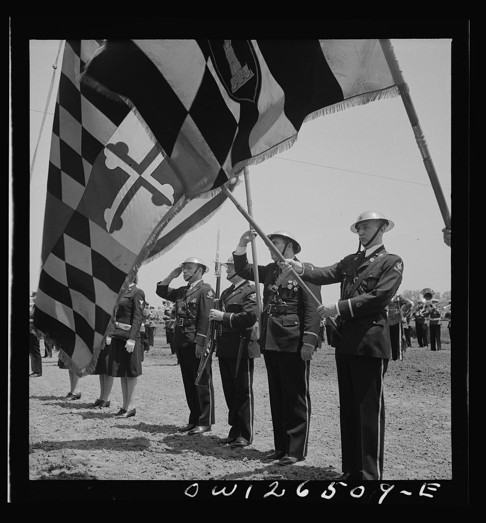 Pimlico racetrack, near Baltimore, Maryland. Maryland home guard flag bearers