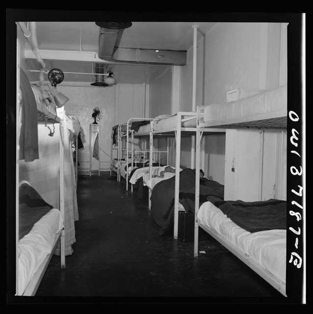 Pittsburgh, Pennsylvania. An air conditioned dormitory for the use of drivers who have layover time away from home, at the Greyhound garage