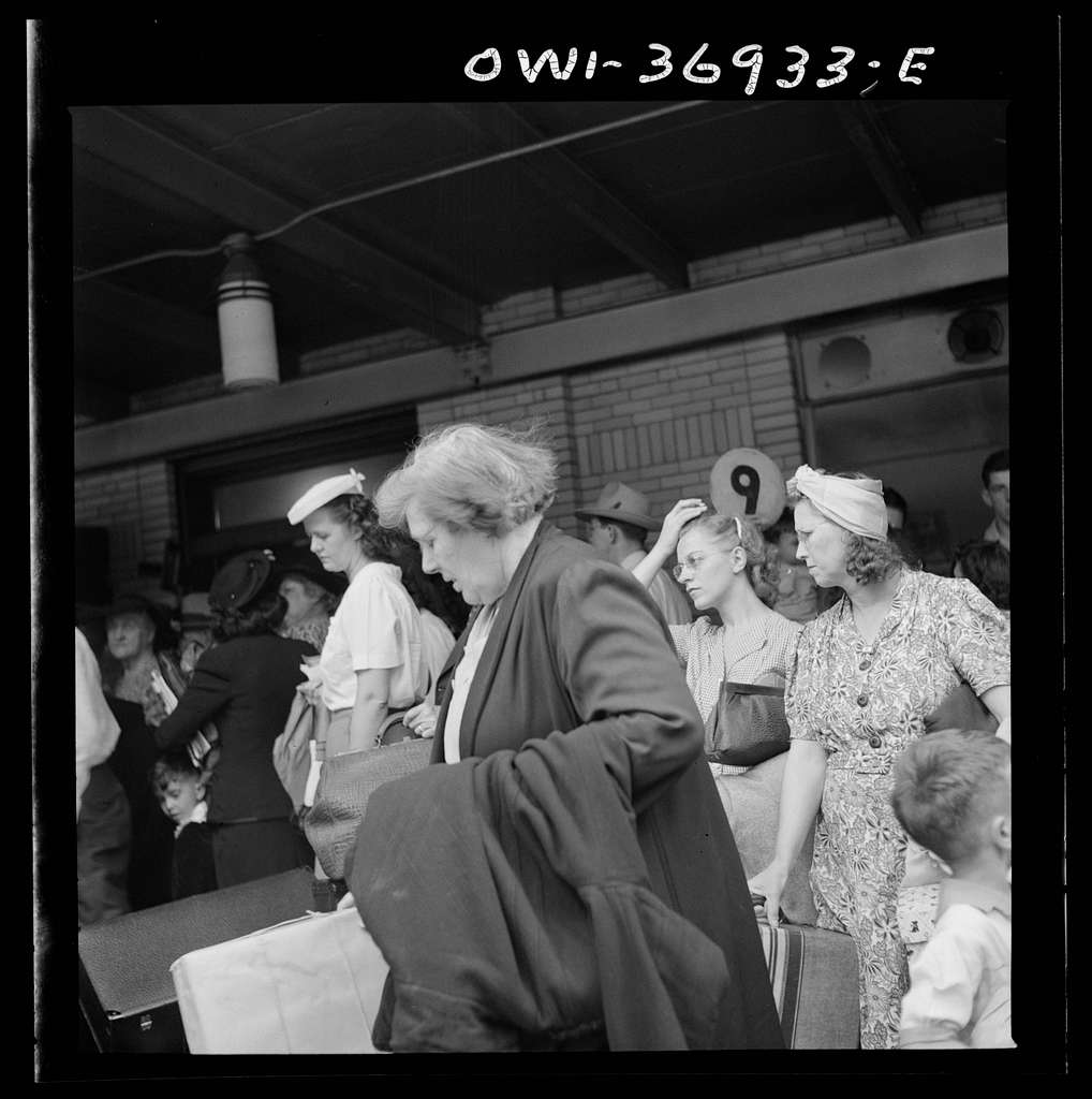 Pittsburgh, Pennsylvania. Passengers waiting for a bus at the Greyhound bus terminal