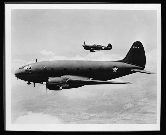Planes in flight. The ship in the foreground is a C-46 transport, originally designed as a commercial plane to carry a crew of five men and thirty-six passengers. Its load capacity in military service has been greatly increased. The more distant plane is a P-40 fighter, distinguished for its effectiveness in middle-altitude work with the RAF (Royal Air Force) in England and Africa, with the AVG (American Volunteer Group--Flying Tigers) in China and with the AAF (Army Air Force) in the South Pacific